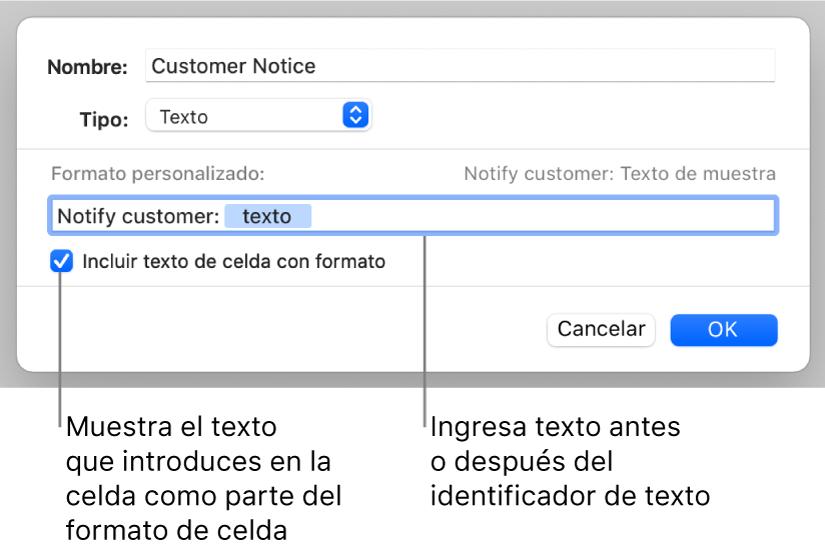 Formato de celda de texto personalizada.