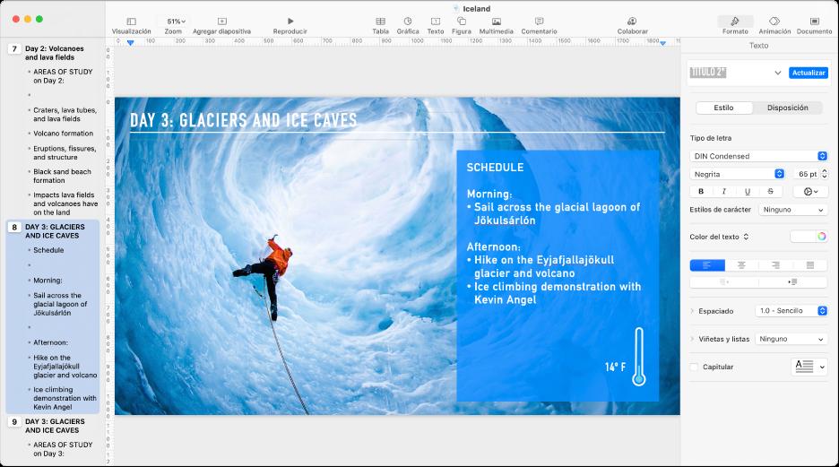 La vista de esquema mostrando un esquema de la presentación en la barra lateral izquierda, la diapositiva seleccionada en el centro y la barra lateral Formato en el lado derecho de la pantalla.