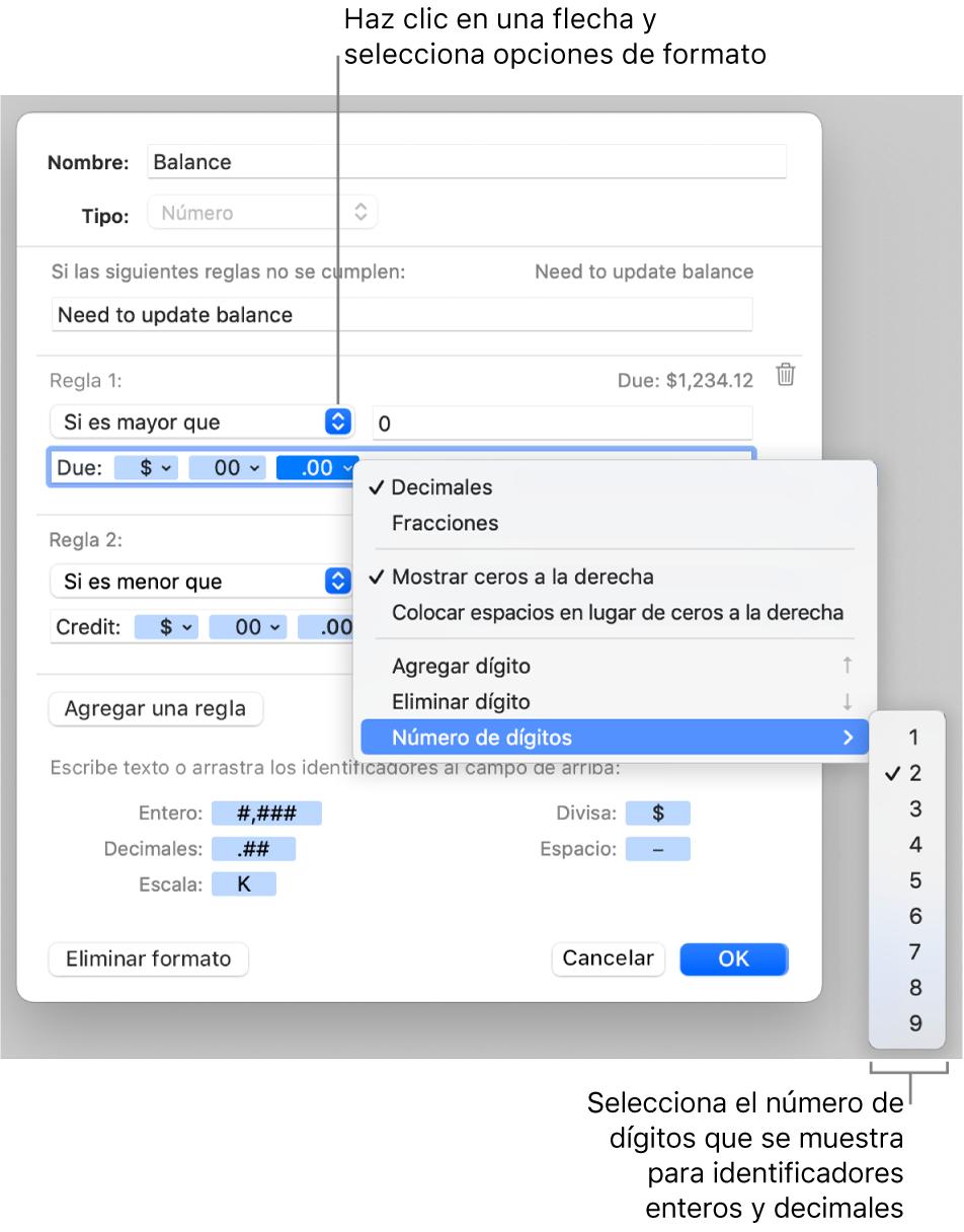 Ventana de formato de celda personalizado con controles para crear un formato numérico personalizado.