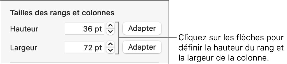 Commandes permettant de définir une taille précise de rang ou de colonne.