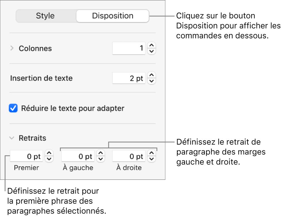 La section Disposition de la barre latérale Format, présentant les commandes définissant le retrait de première ligne et les marges de paragraphe.