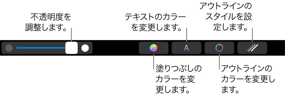 MacBook ProのTouch Bar。図形の不透明度を調整したり、塗りつぶしカラーを変更したり、テキストカラーを変更したり、アウトラインのカラーを変更したり、アウトラインのスタイルを設定するためのコントロールが表示された状態。