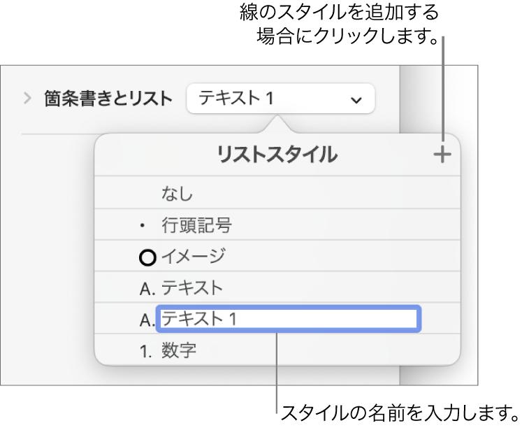 「リストスタイル」ポップアップメニュー。右上隅に「追加」ボタンがあり、プレースホルダのスタイル名のテキストが選択されています。