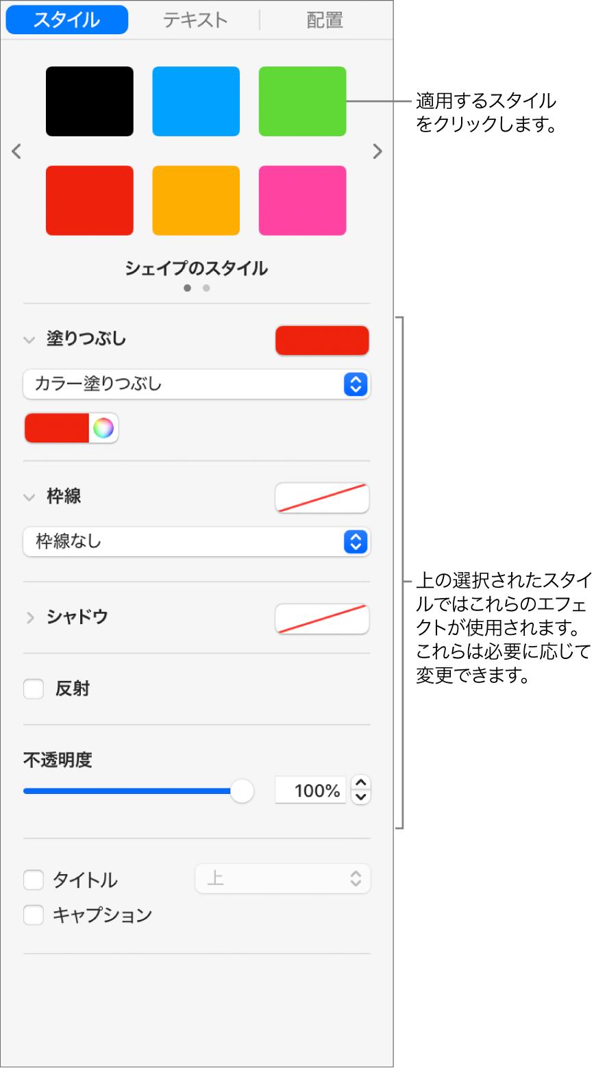 サイドバーの「フォーマット」セクションに表示されている図形のスタイルとオプション。