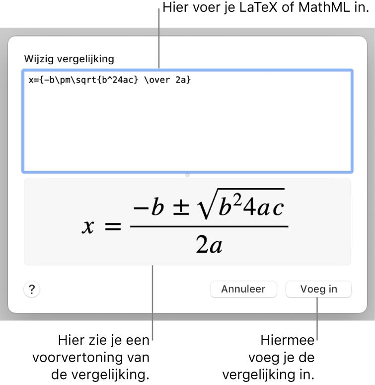 Het venster 'Wijzig vergelijking' met in het veld 'Wijzig vergelijking' een LaTeX-wortelformule en daaronder een voorvertoning van de formule.