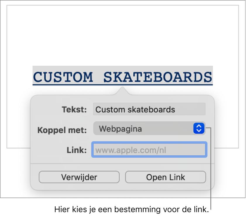 De linkinstellingen met het veld 'Tekst', het venstermenu 'Koppel met' ('Webpagina' is geselecteerd) en het veld 'Link'. Onder aan de regelaars staan de knoppen 'Verwijder' en 'Open link'.