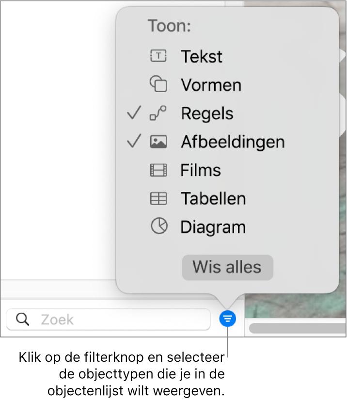 Het venstermenu 'Filter' met een lijst waarin de typen objecten (tekst, vormen, lijnen, afbeeldingen, films, tabellen en diagrammen) staan die de lijst kan bevatten.