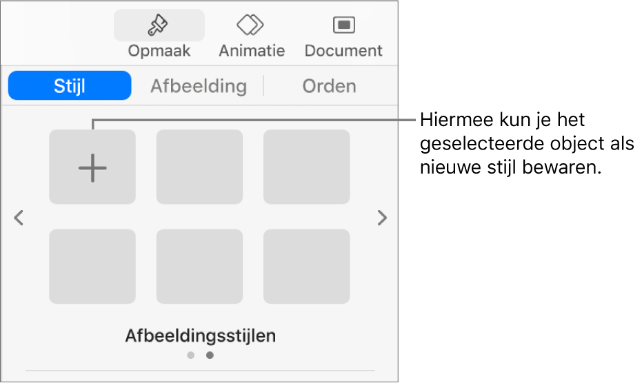 Het tabblad 'Stijl' in de navigatiekolom 'Opmaak' met één tekstvakstijl, rechts daarvan de knop 'Maak stijl aan' en vier lege plaatsaanduidingen voor stijlen.