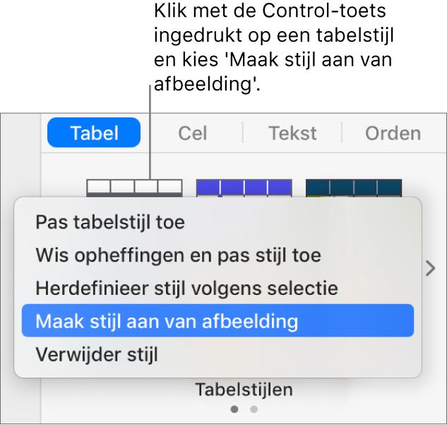 Het contextuele menu voor tabelstijlen.