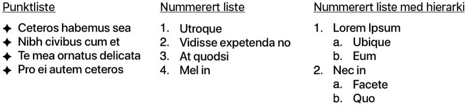 Eksempler på punktlister, ordnede lister og hierarkiske lister.