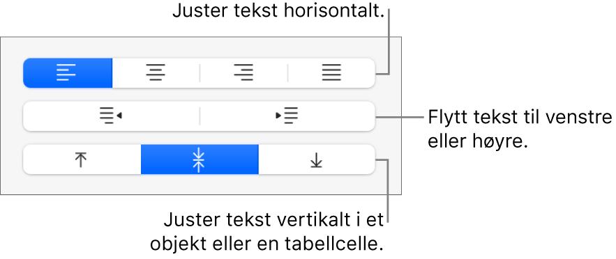 Justering-delen i sidepanelet, som viser knapper for å justere tekst horisontalt, flytte tekst til venstre eller høyre og justere tekst vertikalt.