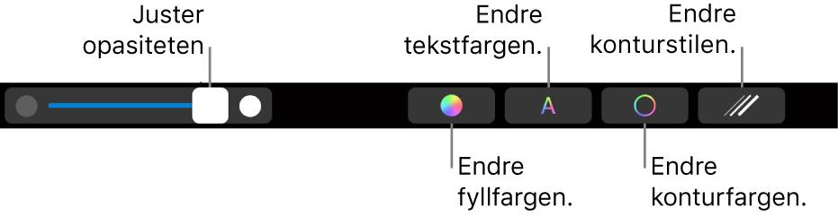 TouchBar på MacBookPro med kontroller for å justere en figurs opasitet, endre fargefyllet, endre tekstfargen, endre fargen på kantlinjen og angi stil for kantlinjen.