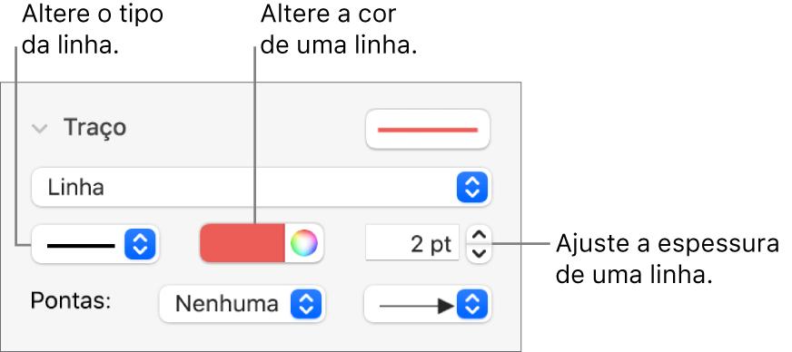 Controles de traço para definir pontas, espessura de linha e cor.