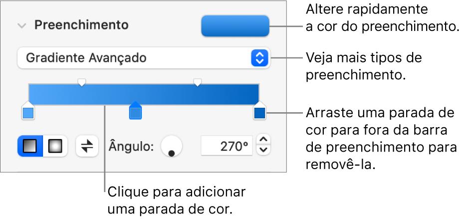 Controles para preenchimento de objetos com cores.