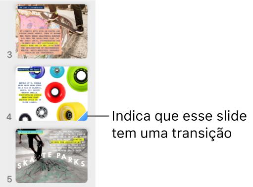 Um triângulo azul em um slide indica que o slide tem uma transição.