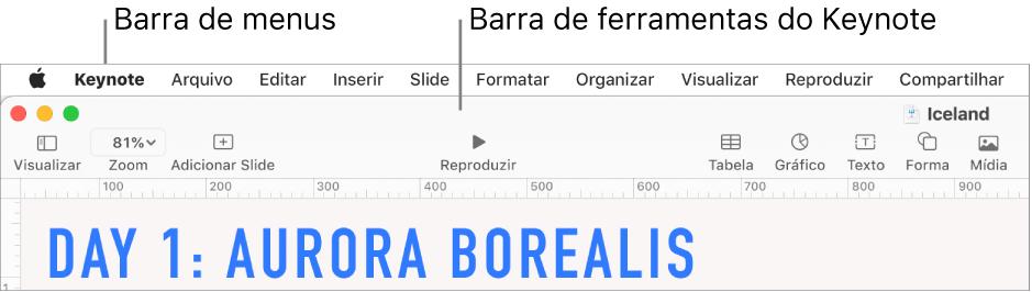 Barra de menus na parte superior da tela com os menus Apple, Keynote, Arquivo, Editar, Inserir, Formatar, Organizar, Visualizar, Compartilhar, Janela e Ajuda. Abaixo da barra de menus está uma apresentação do Keynote aberta com botões da barra de ferramentas ao longo da parte superior: Visualizar, Zoom, Adicionar Slide, Reproduzir, Keynote Live, Tabela, Gráfico, Texto, Forma, Mídia e Comentário.