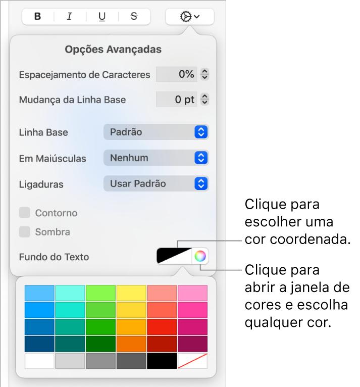 Controles para escolher uma cor de fundo para o texto.