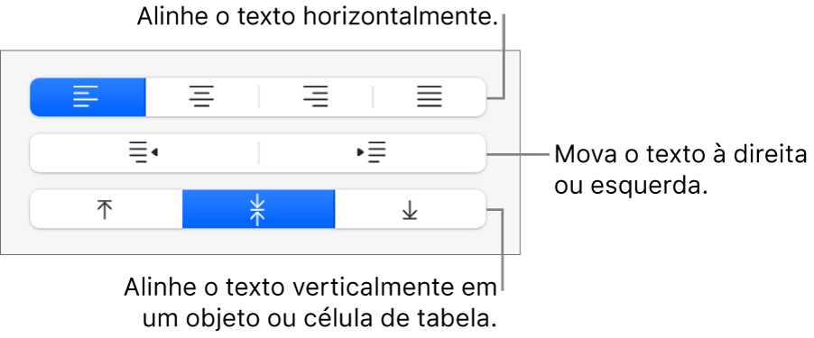 Seção Alinhamento da barra lateral mostrando botões para alinhamento horizontal do texto, mover texto para a direita ou para a esquerda e alinhamento vertical do texto.