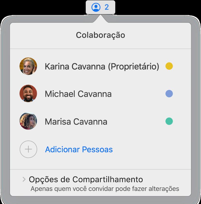 Menu Colaboração mostrando os nomes das pessoas que estão colaborando na apresentação. As opções de compartilhamento se encontram abaixo dos nomes.