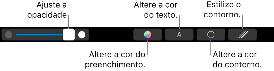 Touch Bar do MacBook Pro, com controles para ajustar a opacidade de uma forma, alterar a cor de preenchimento, a cor do texto e a cor do traço e estilizar o traço.