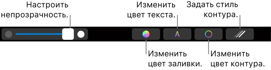 Панель TouchBar наMacBookPro. Показаны элементы управления для регулировки прозрачности фигуры, изменения цвета текста, изменения цвета контура и применения стиля контура.
