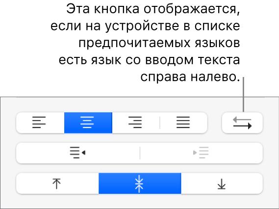 Кнопка «Направление абзаца» впанели управления выравниванием текста.