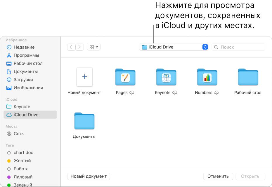Диалоговое окно «Открыть»: слева открыта боковая панель, а во всплывающем меню вверху выбран iCloud Drive. В диалоговом окне показаны папки для Keynote, Numbers и Pages, а также кнопка «Новый документ».