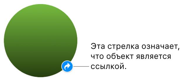 Индикатор ссылки на фигуре.