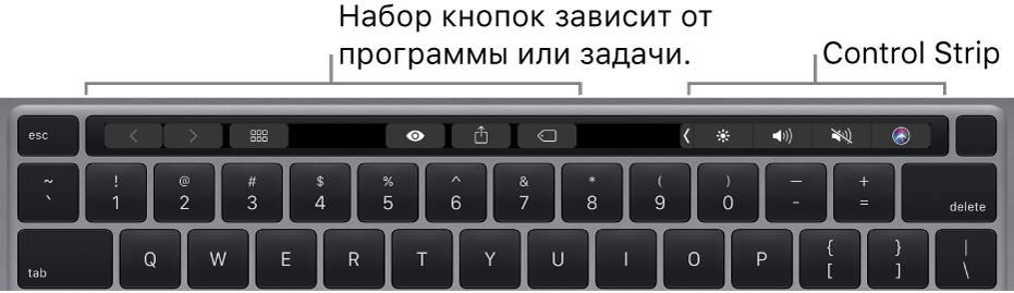 Клавиатура с панелью TouchBar, расположенной над клавишами с цифрами. Кнопки для изменения текста находятся слева и посередине. На полосе ControlStrip справа расположены системные элементы управления, предназначенные для регулировки яркости экрана и уровня громкости, а также работы с Siri.