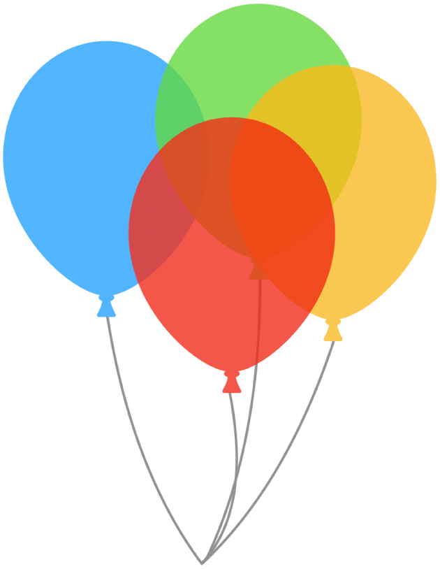 Полупрозрачные фигуры воздушных шариков, наложенные друг надруга. Нижний воздушный шарик виден сквозь прозрачный верхний воздушный шарик.