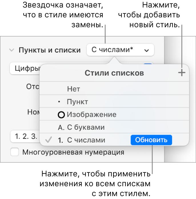 Всплывающее меню «Стили списка». Звездочка указывает напереопределение, выноски указывают накнопку «Новый стиль» иподменю команд управления стилями.