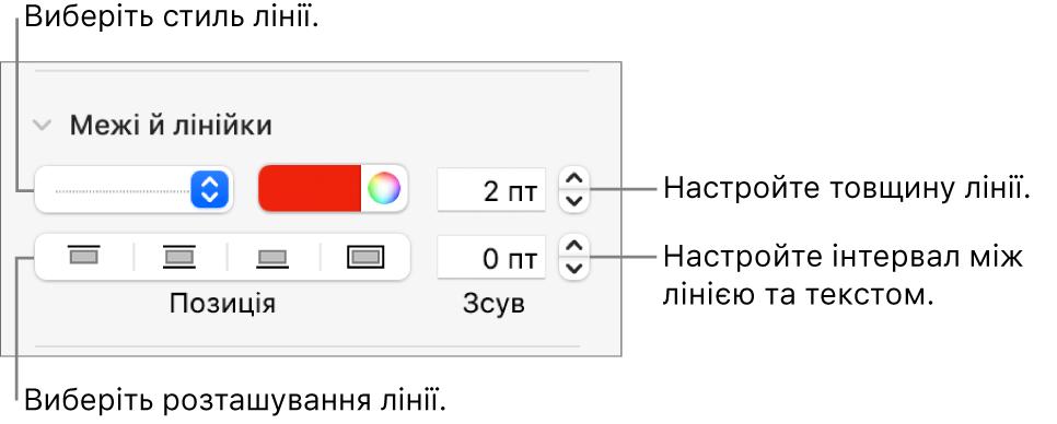 Елементи керування стилем, товщиною, положенням та кольором лінії.