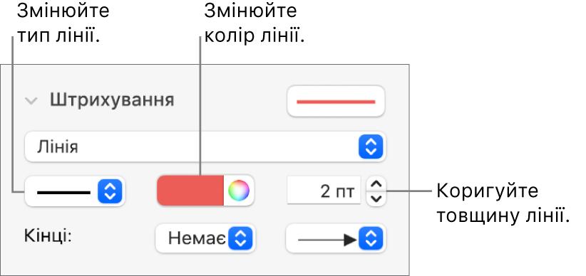 Елементи керування штрихуванням для визначення кінцевих точок, товщини ліній і кольору.