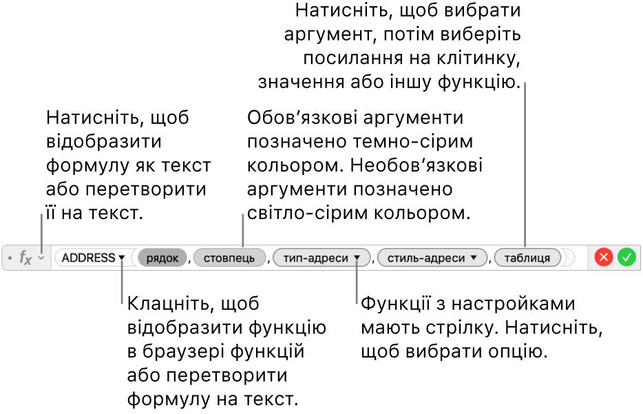 Редактор формул і функція ADDRESS та її маркери аргументів.
