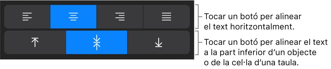 Botons d'alineació horitzontal i vertical del text.