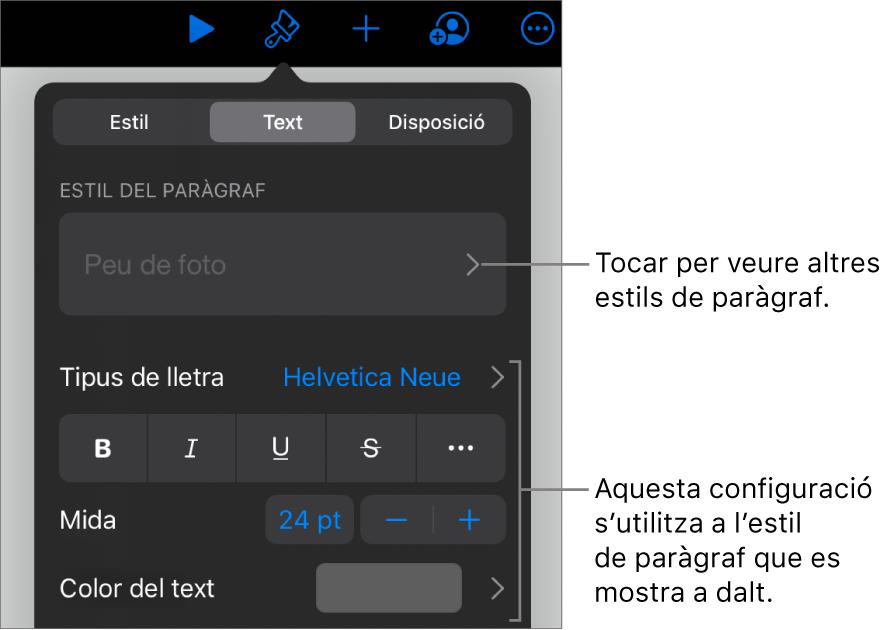 El menú Format amb els controls de text per definir els estils de paràgraf i de caràcter, el tipus de lletra, la mida i el color.