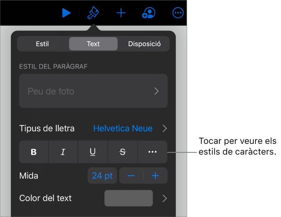 """Els controls de Format amb estils de paràgraf a la part superior i, després, els controls de """"Tipus de lletra"""". A sota de """"Tipus de lletra"""" hi ha els botons Negreta, Cursiva, Subratllat, Ratllat i """"Més opcions de text""""."""