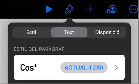 Un estil de paràgraf amb un asterisc al costat i un botó Actualitzar a la dreta.