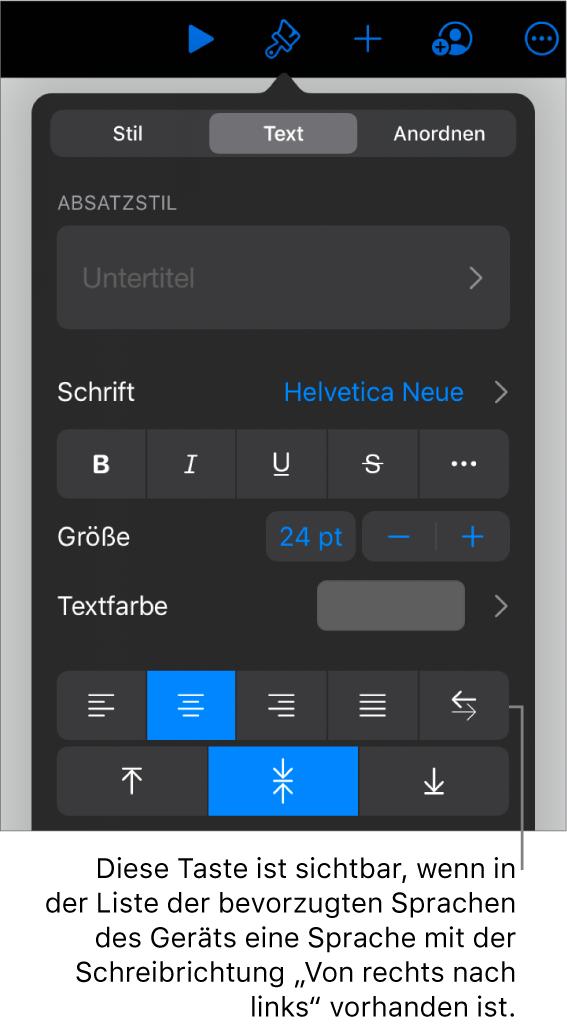"""Die Textsteuerelemente im Menü """"Format"""" mit einer Beschreibung der Taste """"Von links nach rechts"""""""