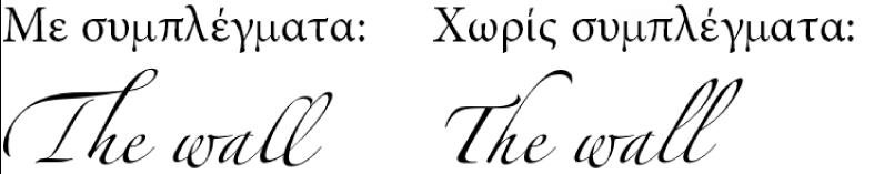 Παραδείγματα κειμένου με και χωρίς συμπλέγματα.