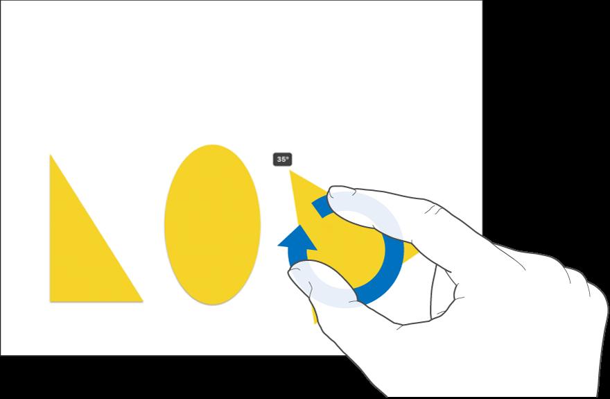 Δύο δάχτυλα που περιστρέφουν ένα αντικείμενο.