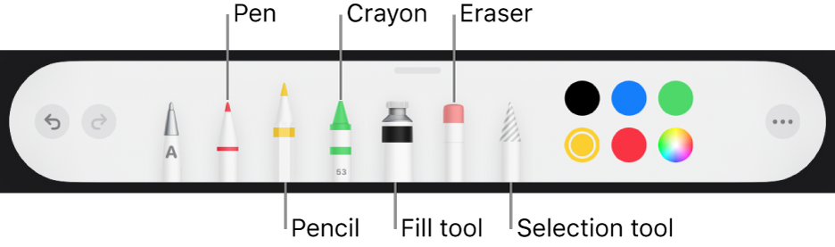 The drawing toolbar with a pen, pencil, crayon, fill tool, eraser, selection tool and colour well showing the current colour.