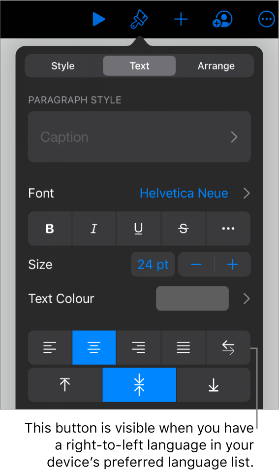 Text controls in the Format menu, with a callout to the Left to Right button.