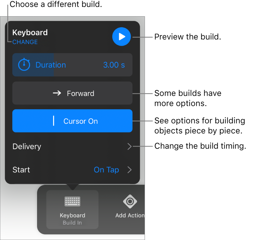 Build options include Duration, Delivery and Start timing. Tap Change to choose a different build, or tap Preview to preview the build.
