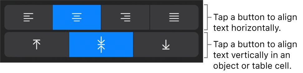 Horizontal and vertical alignment buttons for text.