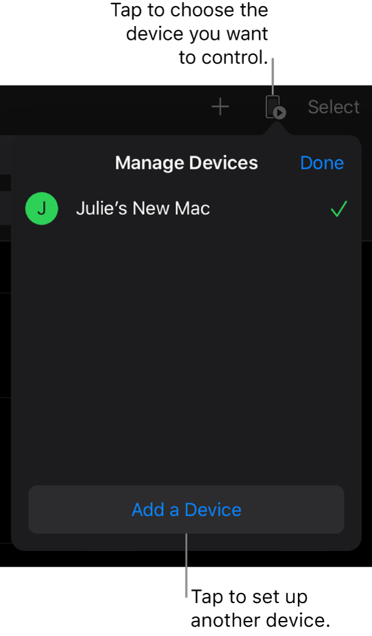 The Manage Devices popover, showing the Add a Device link.