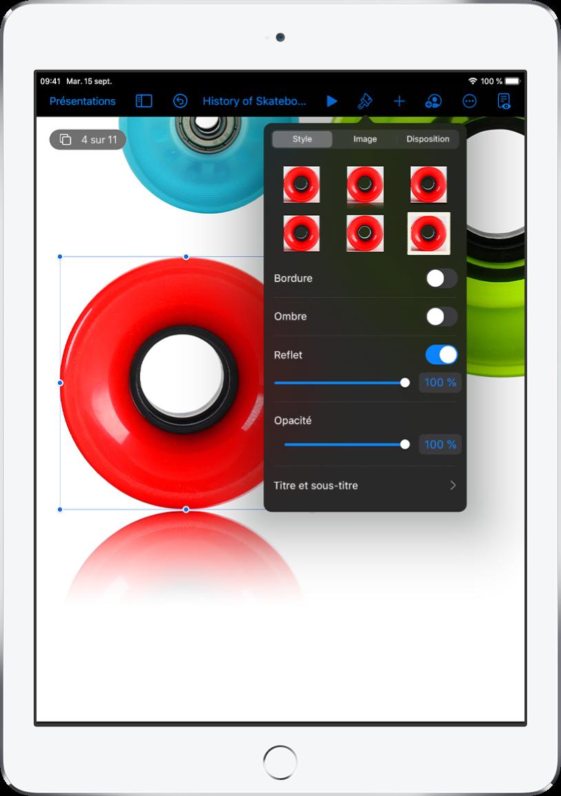 Les contrôles de format pour modifier la taille et l'apparence de l'image sélectionnée. Les boutons Style, Image et Disposition se trouvent en haut des commandes.