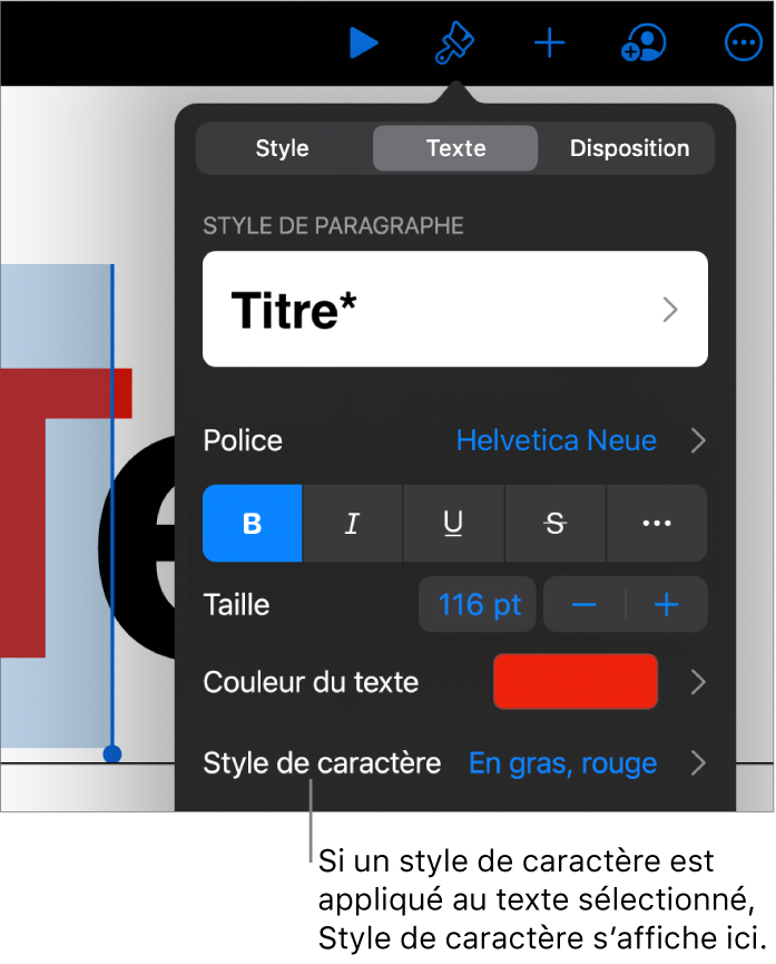 Commandes de mise en forme du texte avec Styledecaractère sous les commandes de couleur. Style de caractèreAucun affiché avec un astérisque.