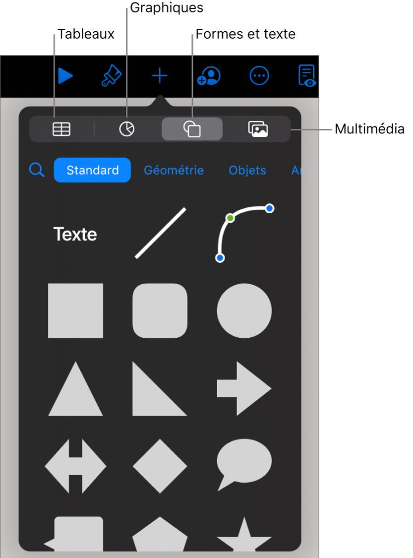 Commandes pour l'ajout d'un objet, avec des boutons en haut permettant de sélectionner des tableaux, des graphiques, des formes (notamment des lignes et zones de texte) et du contenu multimédia.