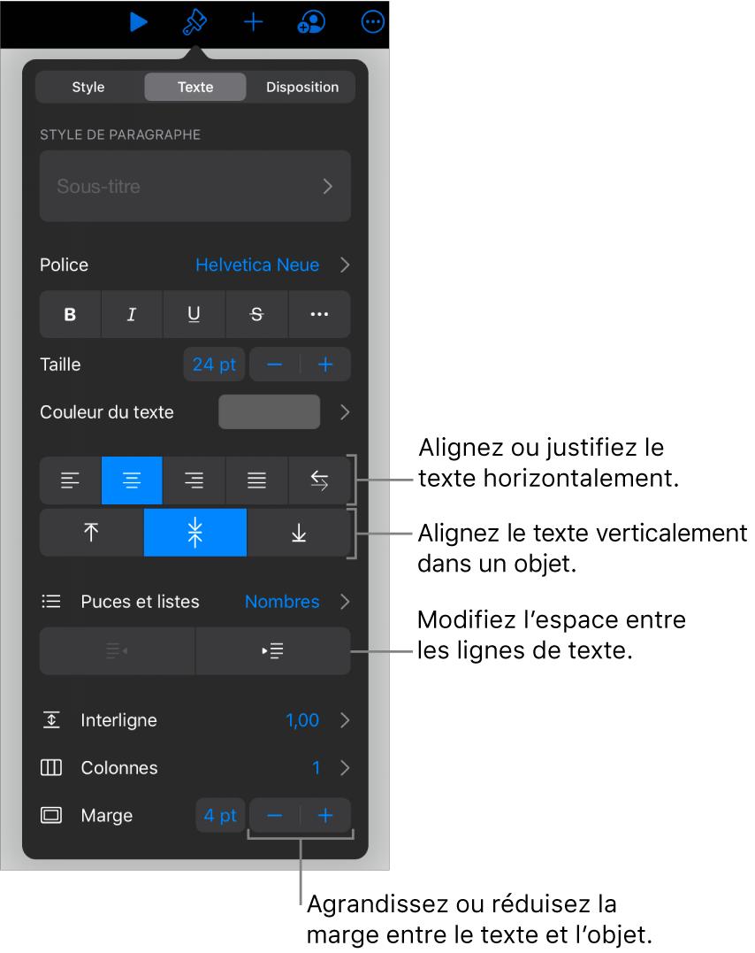 La sous-fenêtreDisposition avec les légendes des boutons d'alignement et d'espacement de texte.
